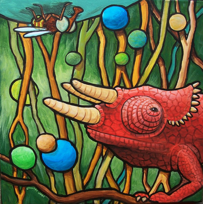Camaleão - Ilustração em tinta acrílica